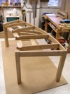 Assembled desk frame