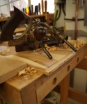 Cherry tables - cutting rebates with antique plough plane