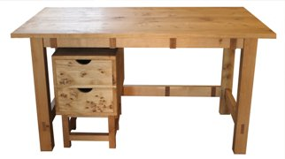 Dovetailed oak desk - front view with drawer cabinet