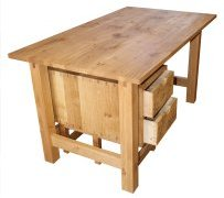 Dovetailed oak desk - three-quarters view