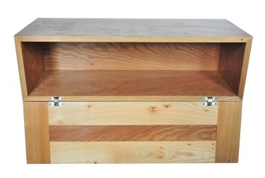 Elm cabinet with flap open