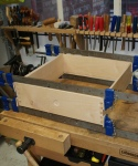 Elm coffee table - drawer clamped for glueing