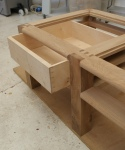 Elm coffee table - drawer fitted into frame