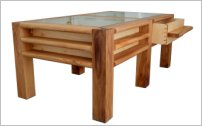 Elm coffee table - three-quarters view with drawer extended