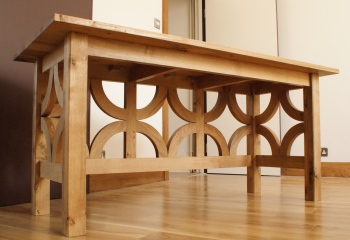 Half-timbered oak desk - three-quarters front view