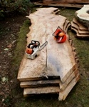Hampstead oak - using chainsaw to rip wide board