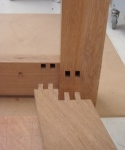 Twin tenon fitting into leg