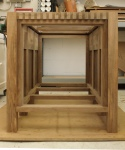 Walnut plinth - end view with completed frieze and door frame