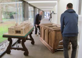 Walnut plinth - moving plinth into cloister