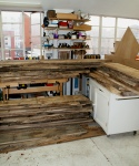 Walnut plinth - timber stacked in workshop