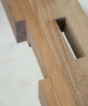 Walnut plinth - top rail bridle joint and through mortice