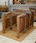 Walnut plinth - two arcades joined with cross-ribs